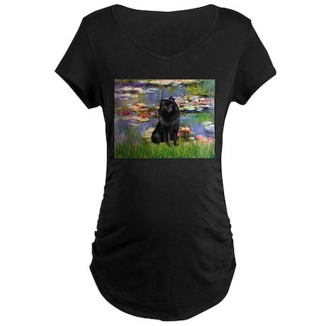 Lilies (2) & Schipperke Maternity Dark T-Shirt