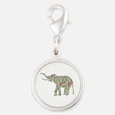 Colorful retro floral elephant. purple and green C