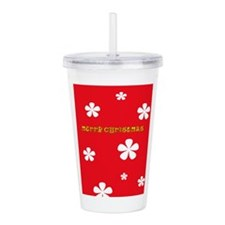 Christmas Red Floral Acrylic Double-Wall Tumbler
