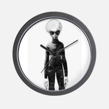 Skinny Bob Grey Alien Wall Clock