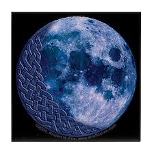 Celtic Knotwork Blue Moon Tile Coaster