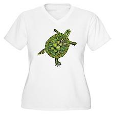 Multi Green Turtle Plus Size T-Shirt