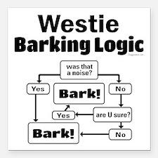"Westie Logic Square Car Magnet 3"" x 3"""