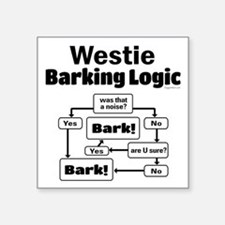"Westie Logic Square Sticker 3"" x 3"""