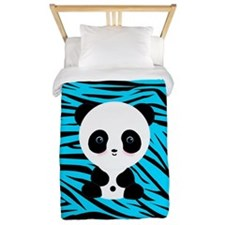 Panda on Teal Black Zebra Twin Duvet