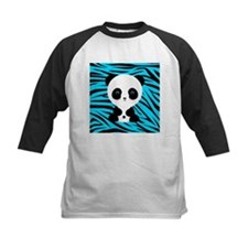 Panda on Teal Black Zebra Baseball Jersey