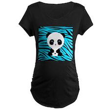 Panda on Teal Black Zebra Maternity T-Shirt
