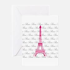 Pink and Black Paris Greeting Cards