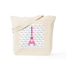 Pink and Black Paris Tote Bag