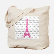 Pink and Black Paris Tote Bag
