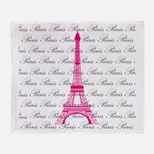 Pink and Black Paris Throw Blanket