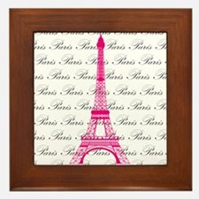 Pink and Black Paris Framed Tile
