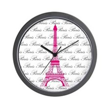 Pink and Black Paris Wall Clock