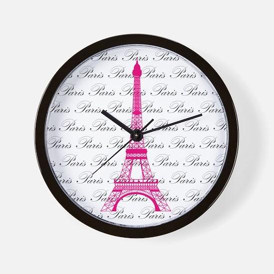 Pink and Black Paris Wall Clock