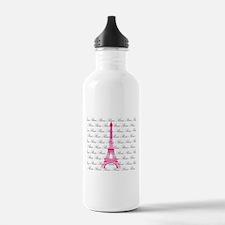 Pink and Black Paris Water Bottle