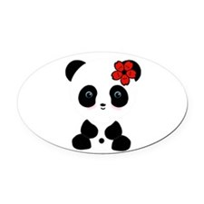 Red Flower Panda Oval Car Magnet