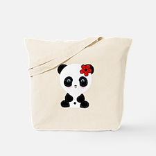 Red Flower Panda Tote Bag