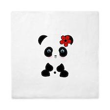 Red Flower Panda Queen Duvet