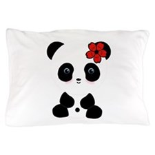 Red Flower Panda Pillow Case