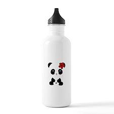 Red Flower Panda Water Bottle
