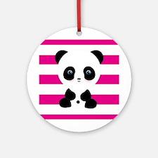 Panda on Pink Stripes Ornament (Round)