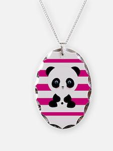 Panda on Pink Stripes Necklace