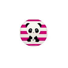 Panda on Pink Stripes Mini Button