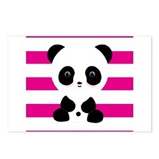 Panda on Pink Stripes Postcards (Package of 8)