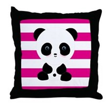 Panda on Pink Stripes Throw Pillow