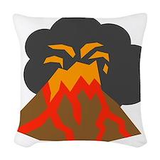 Erupting Volcano Woven Throw Pillow