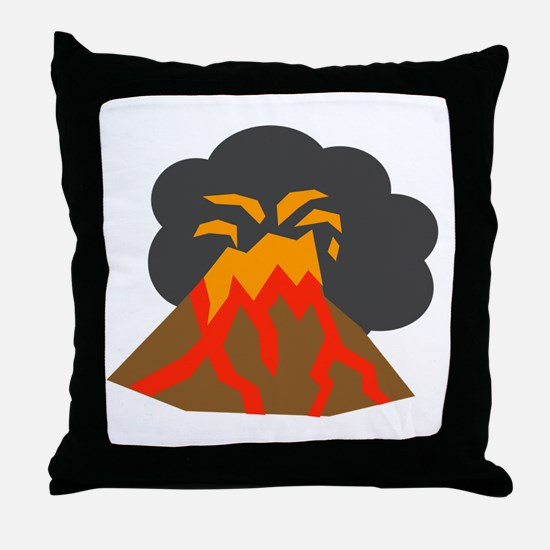 Erupting Volcano Throw Pillow