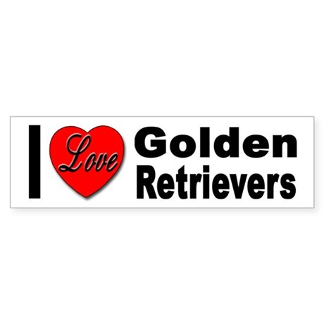 I Love Golden Retrievers Bumper Sticker