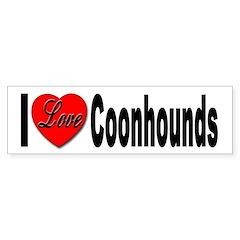 I Love Coonhounds Bumper Bumper Sticker