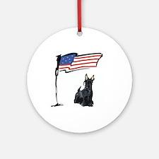 USA Scottie Dog Ornament (Round)