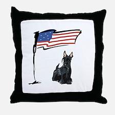 USA Scottie Dog Throw Pillow