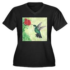 Cute Hummingbird art Women's Plus Size V-Neck Dark T-Shirt