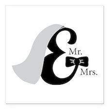 "Mr & Mrs Ampersand Square Car Magnet 3"" x 3"""