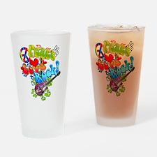 Peace Love Rock Pint Glass