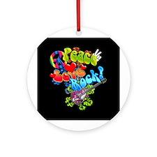 Peace Love Rock Ornament (Round)