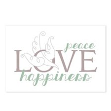 Love Peace Happiness Postcards (Package of 8)