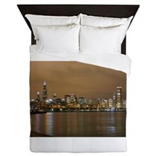 Cute Chicago skyline Queen Duvet