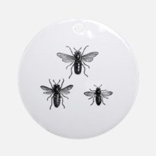 Queen Bee and Working Bees Illustra Round Ornament
