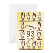 93rd birthday with curious owls. Greeting Cards