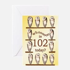 102nd birthday with curious owls. Greeting Cards