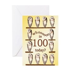 100th birthday with curious owls. Greeting Cards