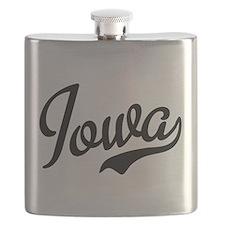Iowa Script Black Flask