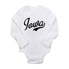 Iowa Script Black Long Sleeve Infant Bodysuit