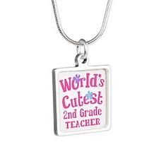 2nd Grade Teacher Silver Square Necklace
