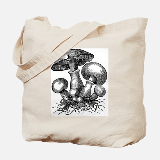 Vintage Mushrooms Illustration Tote Bag