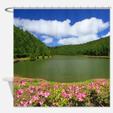 Lake and azaleas Shower Curtain